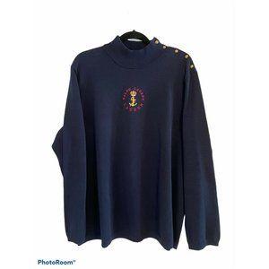 Lauren Ralph Lauren Navy Knit Sweater Crest 2X